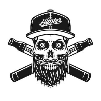 야구 모자와 흰색 배경에 고립 된 빈티지 흑백 스타일에서 두 개의 교차 전자 담배 벡터 일러스트 레이 션에 hipster의 수염된 두개골