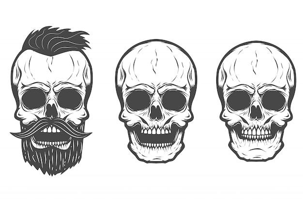 白い背景の上のひげを生やした頭蓋骨。図