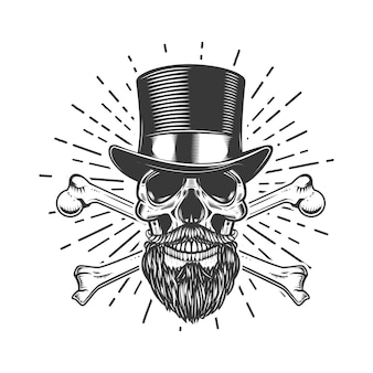 Bearded skull in vintage hat. crossed bones.  element for poster, emblem, sign, t shirt.  illustration