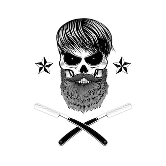 Bearded skull with blades.