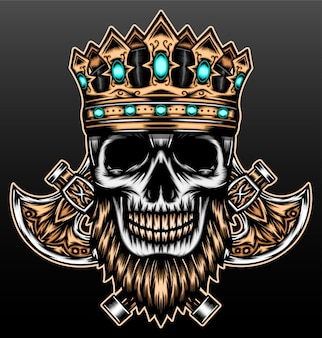 Bearded skull with crown isolated on black