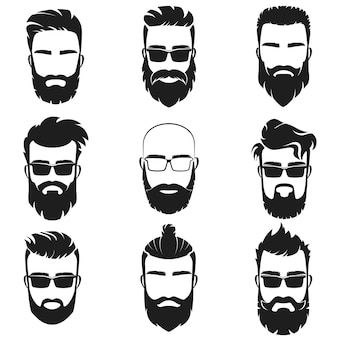 Bearded stylish hipster men faces logo emblem with different haircuts style