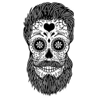 ひげを生やしたシュガースカル。ポスター、カード、印刷、エンブレム、記号の要素。画像