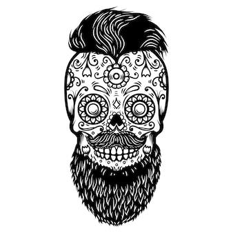 Bearded sugar skull.  element for poster, card, print, emblem, sign.  image