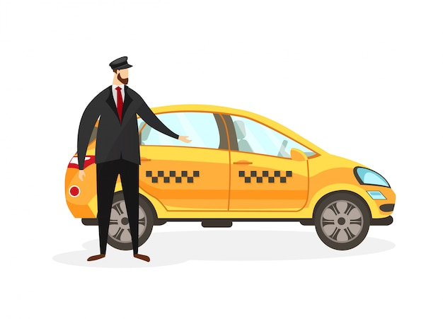 Bearded taxi driver stand near yellow car clip art