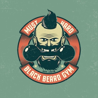 Bearded with old dumbbell