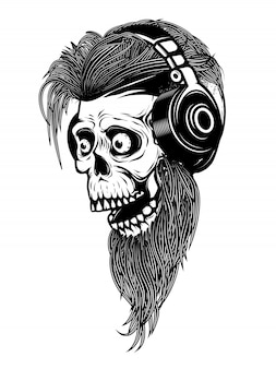 Bearded zombie head with headphones.  elements for logo, label, emblem, sign.  illustration