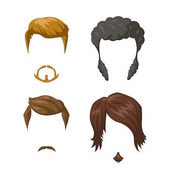 Beards mustaches and hairstyles set.
