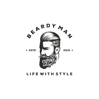 Beardy man logo design