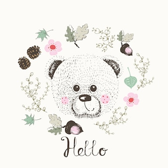 Bearhand drawn of cute teddy bear in frame of leafs with lettering hellocan be used for kids