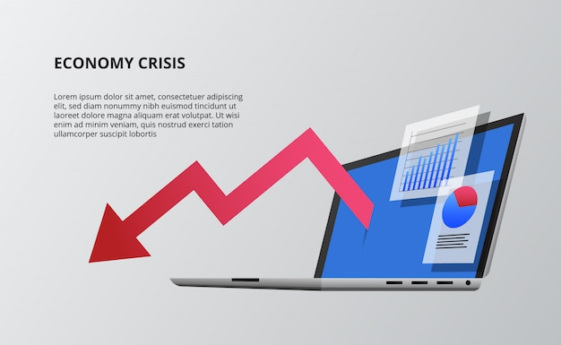 Bearish down economy with red arrow and device open laptop 3d perspective isometric. infographic data visualization