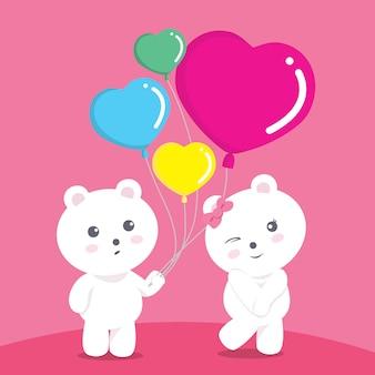 Bears balloon love green valentine