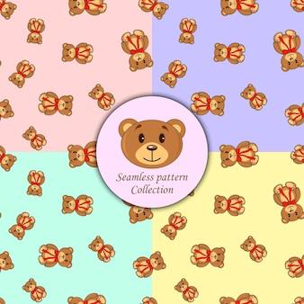 シームレスパターンの異なる色のヒグマのセット。