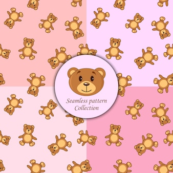 Bears brown set of seamless pattern different colors