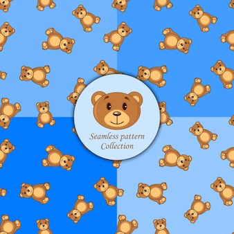 Bears brown set of seamless pattern different colors.