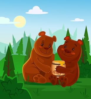 Bears characters eating honey. flat cartoon illustration