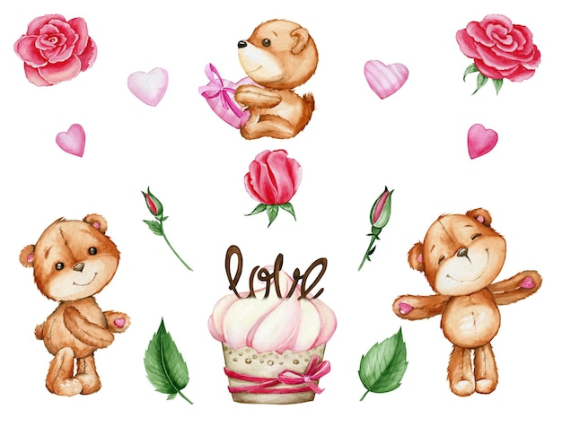 Bears, hearts, roses, cake. watercolor set, in cartoon style, on an isolated background, for the valentine's day.