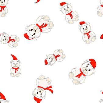 Медведи в рождественские шляпы санта-клауса узор бесшовные фон.