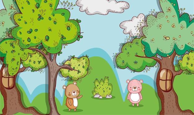 숲에서 곰 낙서 만화