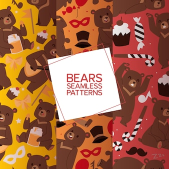 Bears set of seamless pattern. cartoon brown grizzly bear. teddy in different pose and activities, sitting, frightening, dancing and playing balalaika,