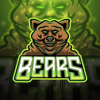 クマのスポーツマスコットのロゴデザイン