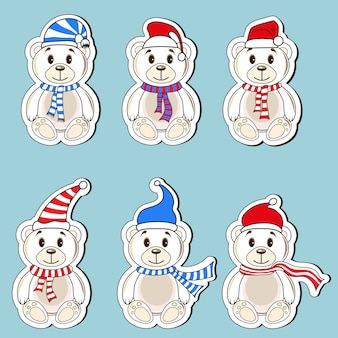 Bears white labels with christmas hats of santa claus