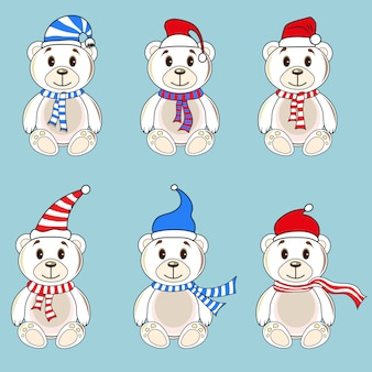 Bears white labels with christmas hats of santa claus.