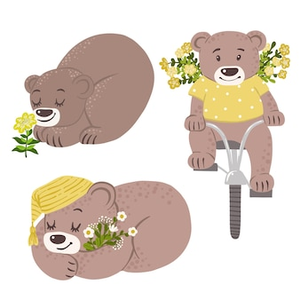 Bears with yellow flowers on bicycle
