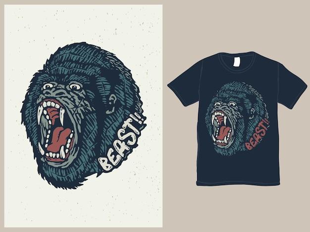 야수 고릴라 올드 스쿨 문신 티셔츠 디자인
