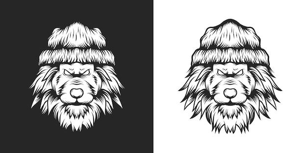 ビーニー帽子の獣ライオン手描きイラスト