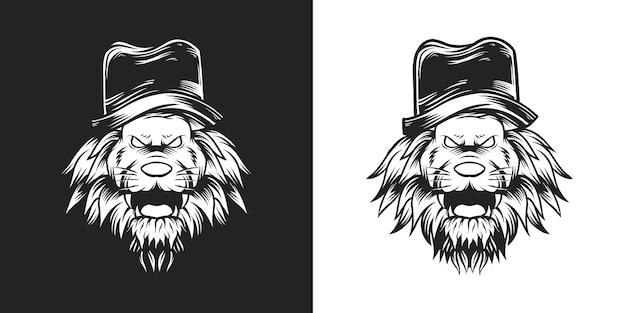 山高帽の獣ライオン手描きイラスト