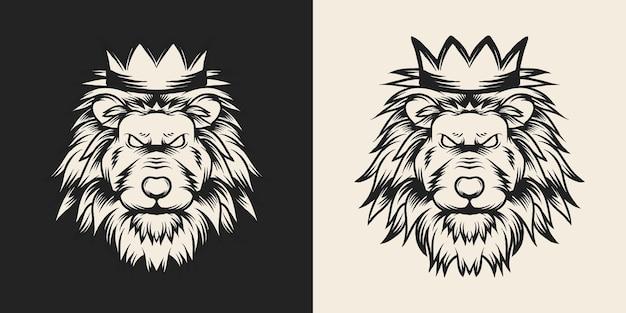 王冠の獣ライオン手描きイラスト