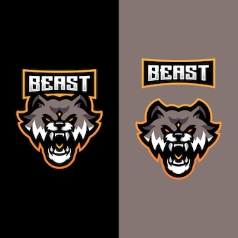 Логотип beast mascot для спортивной киберспортивной команды