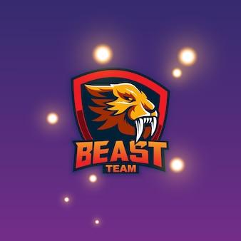 獣のマスコットのロゴ