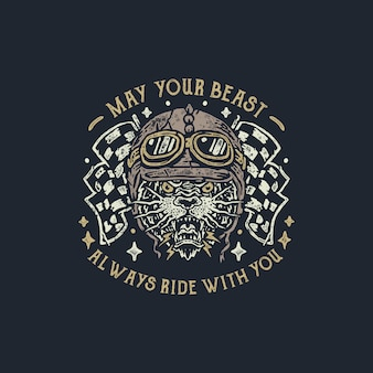 The beast motorcycle vintage hand drawn badge illustration