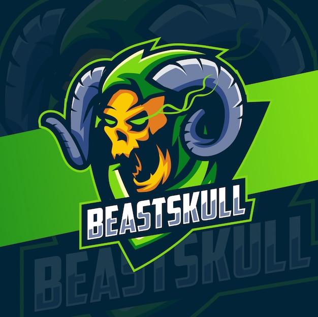 Beast skull head mascot esport logo design