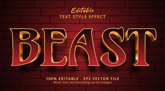 Beast text on gothic horror color gradient style, editable text effect