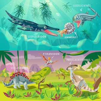 Beasts jurassic horizontal illustration