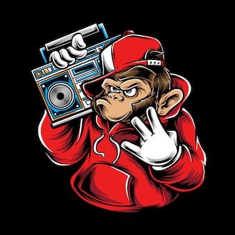 Beat box monkey illustration