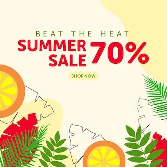 Beat the heat summer sale banner design template