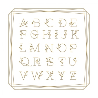 Beatiful alphabet floral monoline colection gold.