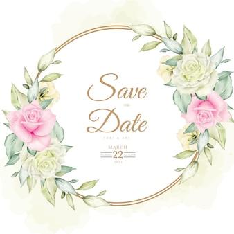 美しい花と葉の水彩結婚式の招待カードテンプレート