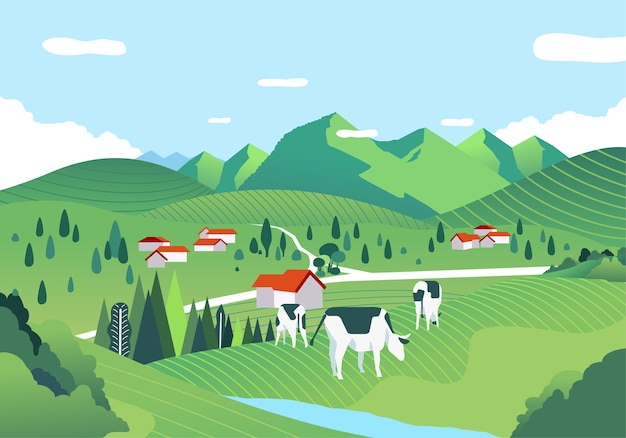 Beatiful landscape with a vast expanse of green field, hill and cows are grazing. used for poster, banner and web image