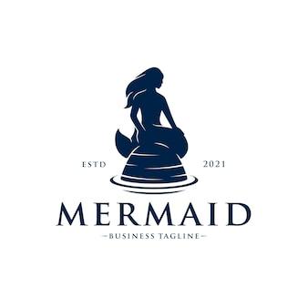 Шаблон логотипа красивая русалка