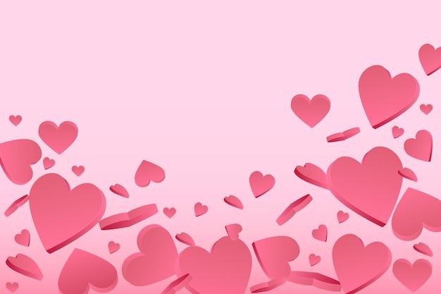 파스텔 배경 해피 발렌타인 데이 벡터에 3d 핑크 하트와 함께 아름 다운 핑크 배너