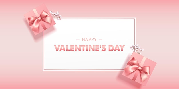 Beatiful pink pastel greeting card or banner with pink gift box happy valentines day vector