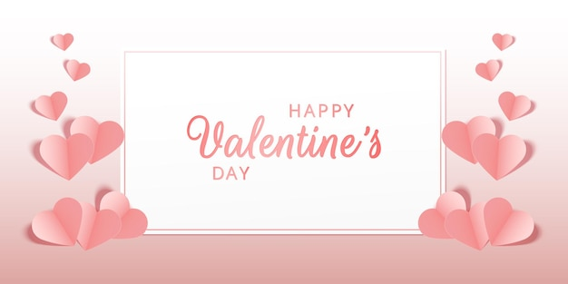 Beatiful pink pastel greeting card or banner with pink hearts happy valentines day vector