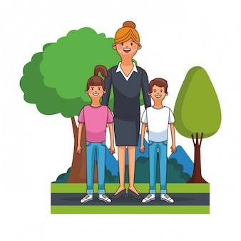 Beauitful executive mom with boy and girl at park vector illustration graphic design