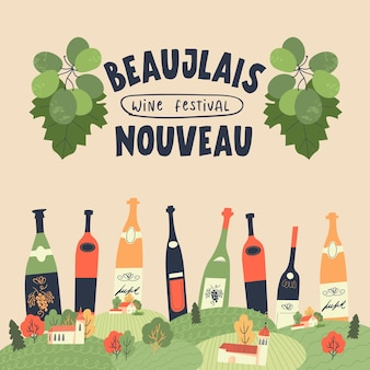 Beaujolais nouveau festival of new wine in france