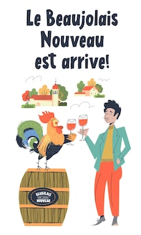 Beaujolais nouveau has arrived the phrase is written in french lots of colorful wine bottles a man a...